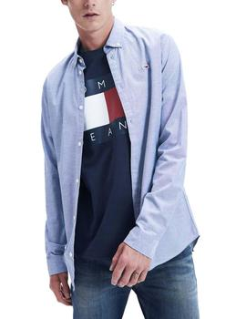 Camisa Tommy Jeans Stretch Oxford azul hombre