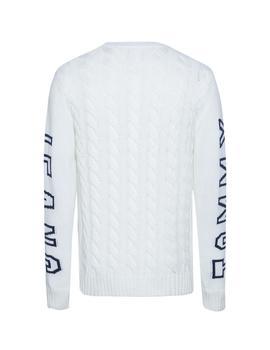 Jersey Tommy Jeans Cable Logo blanco hombre