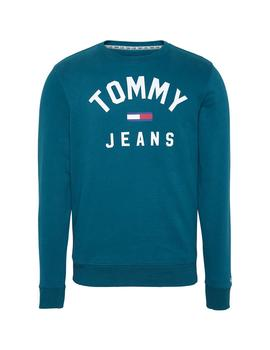 Felpa Tommy Jeans Essential Flag Crew verde hombre