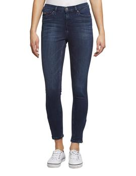 Vaqueros Tommy Jeans Mid Rise Skinny Nora 7/8 Zip azul mujer