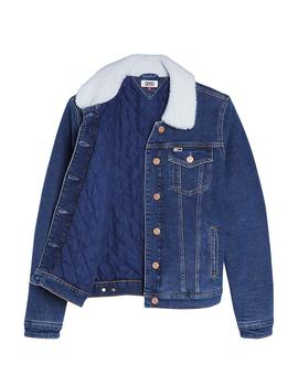 Chaqueta Tommy Jeans Regular Sherpa azul mujer