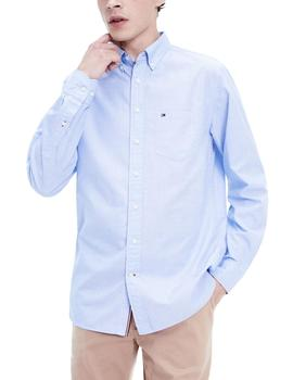 Camisa Tommy Hilfiger Regular Cotton Dobby azul hombre