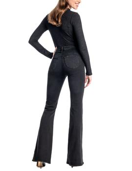 Vaqueros Lee Super High Flare negro mujer