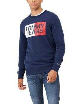 Felpa Tommy Jeans Essential Graphic Crew marino hombre