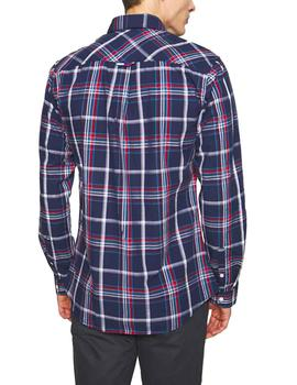 Camisa Tommy Jeans Poplin Multi Check marino hombre