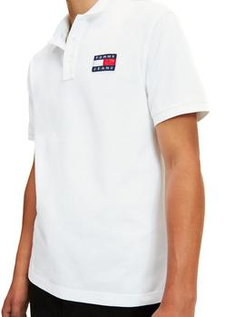 Polo Tommy Jeans Flag blanco hombre