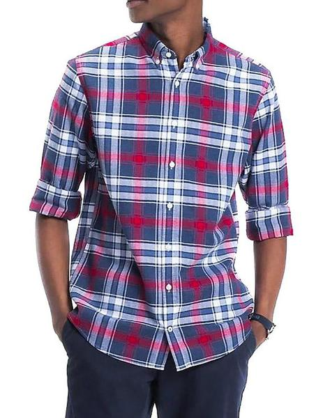 Camisa Tommy Hilfiger Checked Herringbone azul