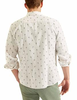 Camisa HKT by Hackett Cotton Palm Tree blanco hombre