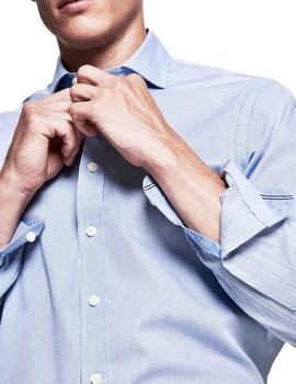 Camisa Hackett Mini Check Engineered azul