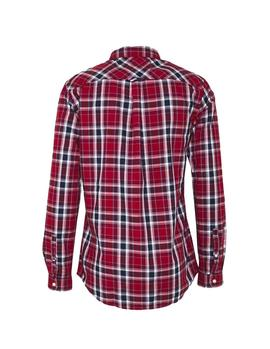 Camisa Tommy Jeans Faded Checks rojo hombre