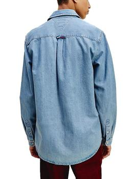 Camisa Tommy Jeans Denim Badge azul hombre