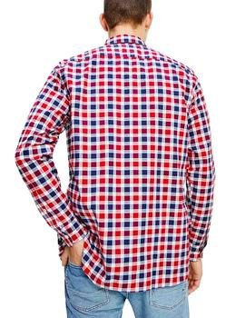Camisa Tommy Hilfiger Travel Oxford Check rojo hombre