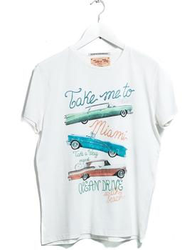 Camiseta Hombre Take A Way Miami Blanca/Amarillo