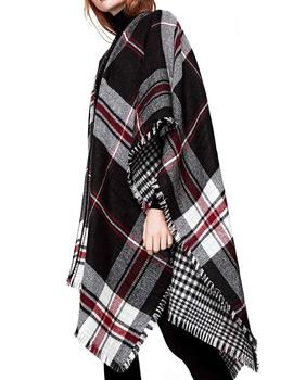 Poncho Pepe Jeans Thea cuadros negro/rojo mujer