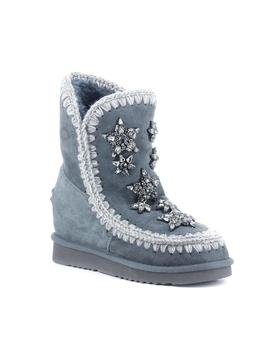 Botas Mou Inner Wedge Short Crystal Star gris