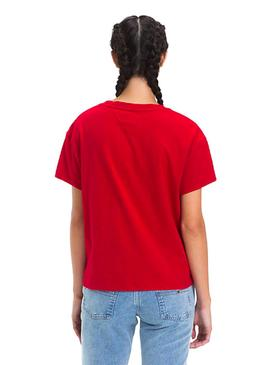 Camiseta Tommy Denim Layer Graphic rojo mujer