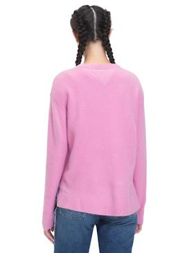 Jersey Tommy Jeans Side Stitch Detail rosa mujer
