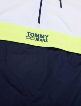 Cazadora Tommy Jeans Color Block Popover blanco