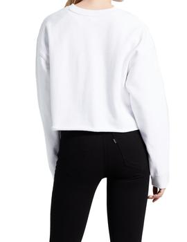 Felpa Levi's Graphic Raw Cut Crew blanco mujer