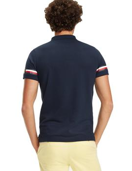 Polo Tommy Hilfiger Icon Sleeve Stripe Slim marino hombre