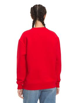 Felpa Tommy Jeans Clean Collegiate Crew roja mujer
