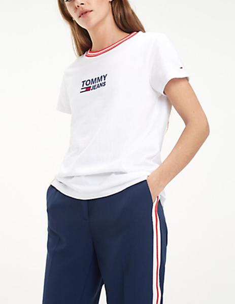 6ada949d249 ... Camiseta Tommy Jeans Rib Stripe Neck blanco mujer. Mujer. Gallery  006431 7. Gallery 006431 1