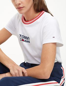 4d82a8ffc2d Camiseta Tommy Jeans Rib Stripe Neck blanco mujer