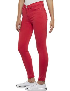Vaqueros Tommy Jeans Mid Rise Skinny Nora rojo mujer