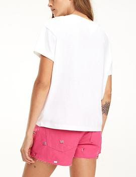 Camiseta Tommy Jeans Multicolor Line Logo blanco mujer