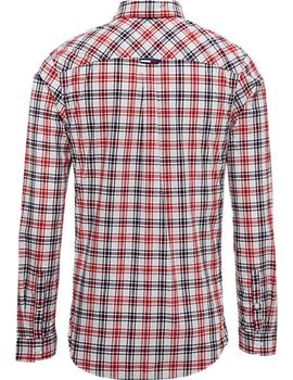 Camisa Tommy Jeans Essential Multi Check blanco hombre