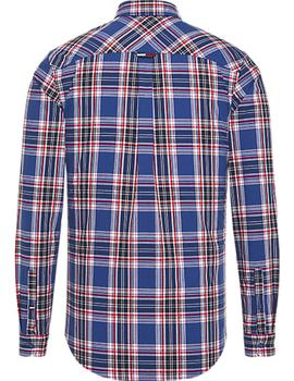 Camisa Tommy Jeans Essential Multi Check azul hombre