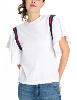 Camiseta Lee Taped blanco mujer