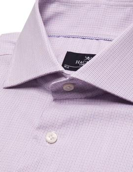 Camisa Hackett Stretch Mini Graph Check azul/rosa hombre