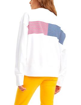 Felpa Tommy Jeans Colorful Block blanco mujer