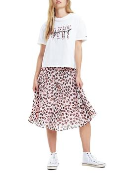 Falda Tommy Jeans Leopard Print rosa mujer