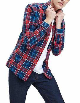 Camisa Tommy Jeans Essential Check marino/rojo hombre